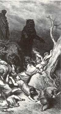 I fanciulli sbranati dagli orsi, particolare da un'incisione di G. Doré. La tavola fa riferimento all'espisodio narrato nel II Libro dei Re, 2:24