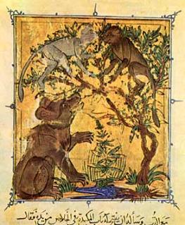 L'orso e la scimmia, miniatura dal un manoscritto del XIV secolo